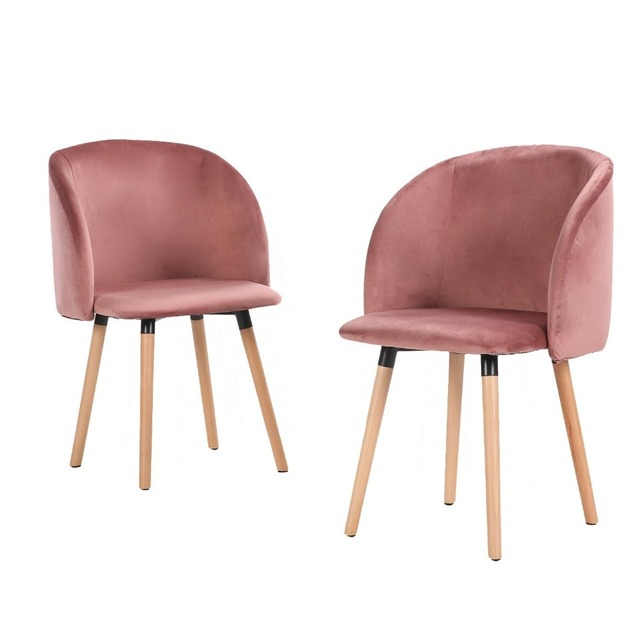 EGGREE Dining Chairs Soft Silky Velvet Seat And Wooden Legs Armchair  Kitchen Chairs For Dining And