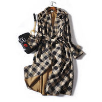 HIGH STREET New Fashion Runway 2018 Designer   Trench   Women's Long Sleeve Plaid Bandage Long Outer Wear   Trench   Coat