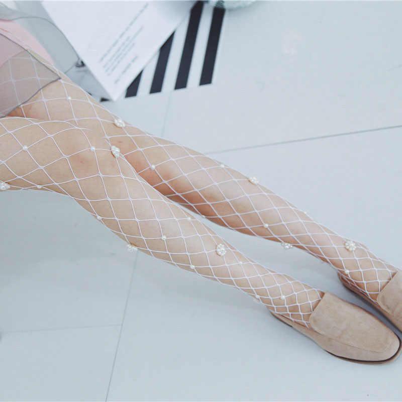 fc878769e99f8c ... Women Popular Pearl Flowers Personality Tide Cross Grid Fishnet  Pantyhose Diamond Mesh Female Fashion Tights ...