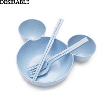 Food Grade Wheat material Tableware Set Cute Cartoon mickey mouse big Head bowl Fruit plate tableware Children dish fork 4 pcs(China)
