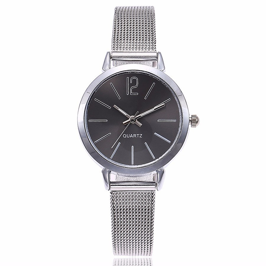 Fashion Women Stainless Steel Silver Gold Mesh Watch Unique Simple Watches Casual Quartz Wristwatches Clock Hot Sale