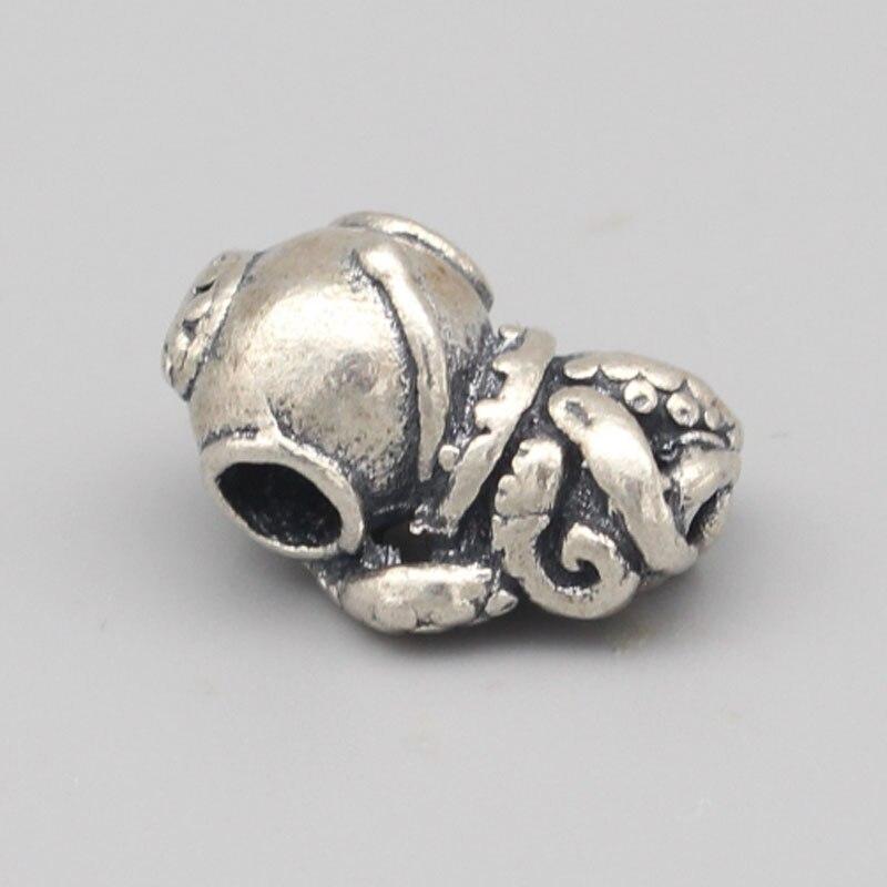 Vintage 925 perles en argent Sterling poulpe pendentif breloques s'adapte à la marque de bricolage européenne 3mm Troll Bracelet et collier bijoux - 4