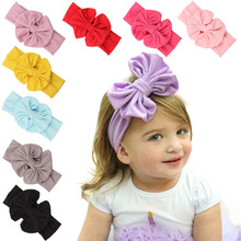 "5"" Cotton Large Bowkont Baby girls Headbands Vintage sector Big Bows For Children Head wrap Bebes Lovely Cinta de cabeza 1Pc"