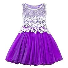 New Lace Flower Princess Dress 2018 summer Girl sleeveless Three-Dimensional Petals Pompon Net Yarn Girls Clothes