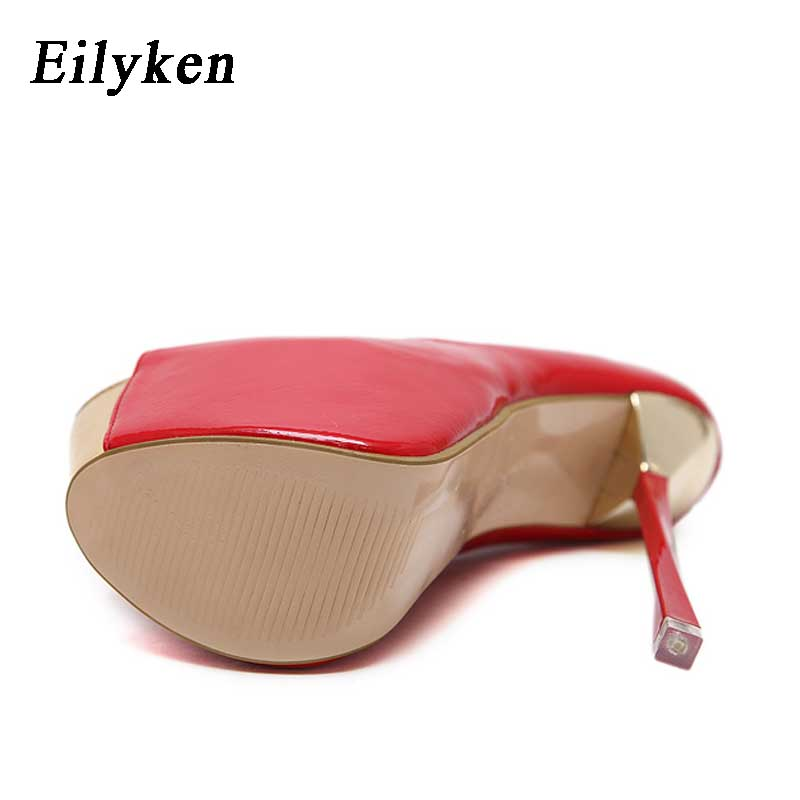 ae9841eef567 Eilyken Stylish Women Red Wedding Shoes Peep Toe Super Platform High Heels  Shoes Sexy Woman Pumps Apricot 16cm size 35 40-in Women s Pumps from Shoes  on ...