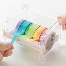 Практический прозрачный пластиковый для клейкой ленты Диспенсер офисный Настольный держатель ленты с резцом ленты