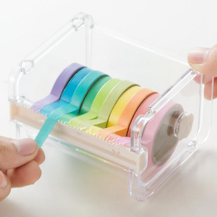 Practical Transparent Plastic Adhesive Tape Dispenser Office Desktop Tape Holder With Tape Cutter