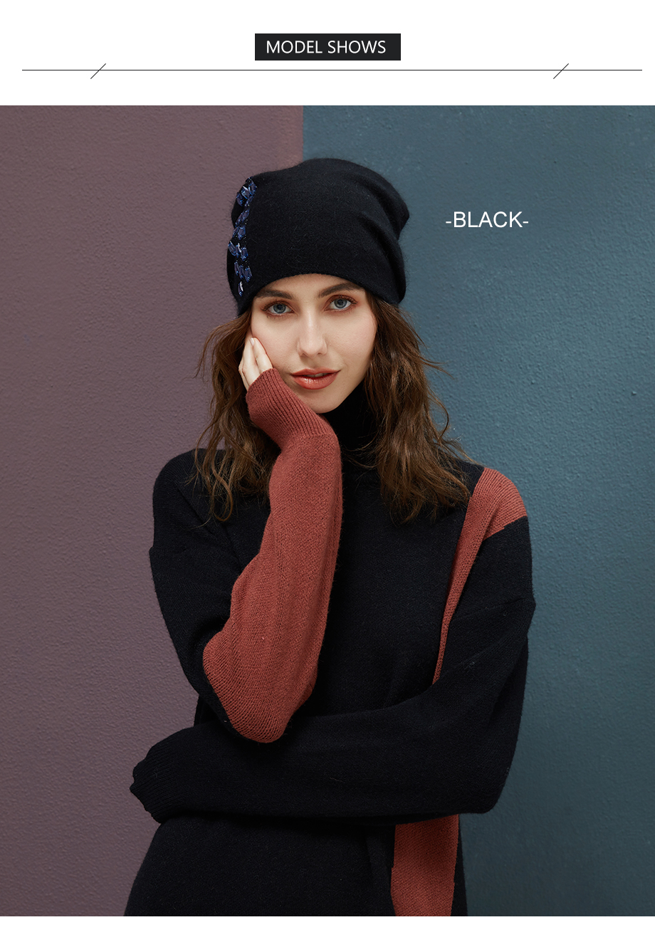 Women's Winter Beanies 2018 Stretchy Knitted Hat Flashing Glass Rhinestone Hat Female Cashmere Bonnets Elegant Warm Beanie Gorro (5)
