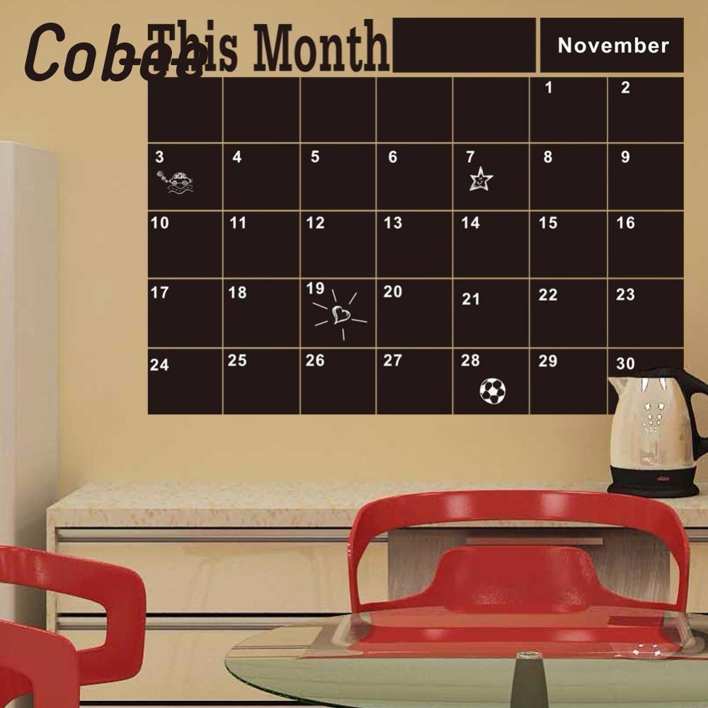 Cobee Monthly Chalkboard Blackboard Removable Vinyl Sticker Decor Month Plan Calendar Chalkboard DIY Early Education Stationery