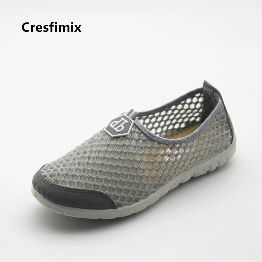 Cresfimix women cute grey mesh breathable flat shoes lady soft & comfortable flats female outdoor summer shoes zapatos de mujer cresfimix femmes appartements women fashion comfortable mesh breathable flat shoes lady cute beige bow tie shoes zapatos b2859