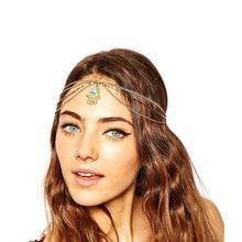 KINS Fashion Khamsah Hand Evil Eyes Pendant Gold Color Metal Head Chain Headband Indian Ethnic Style