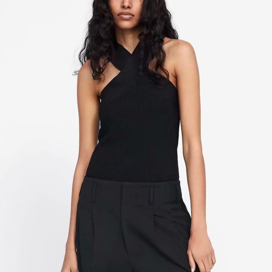 Top-Vest Tank-Top Cami Cross-Shoulder-Strap Knitted Cross-Neckline Black Sexy Summer