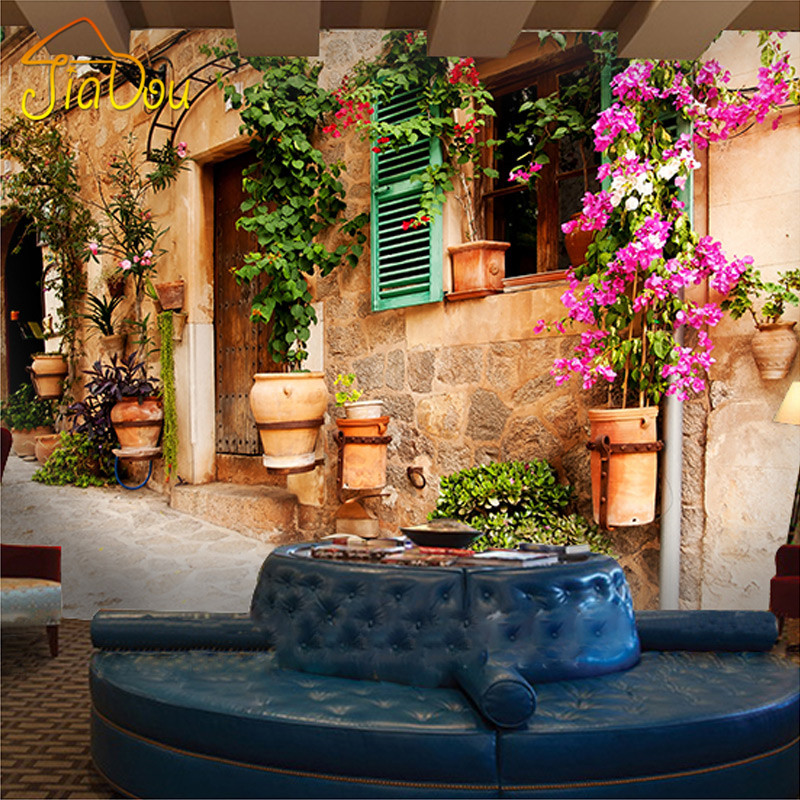 Custom photo wallpaper european retro flower pots metope - Flower wallpaper mural ...