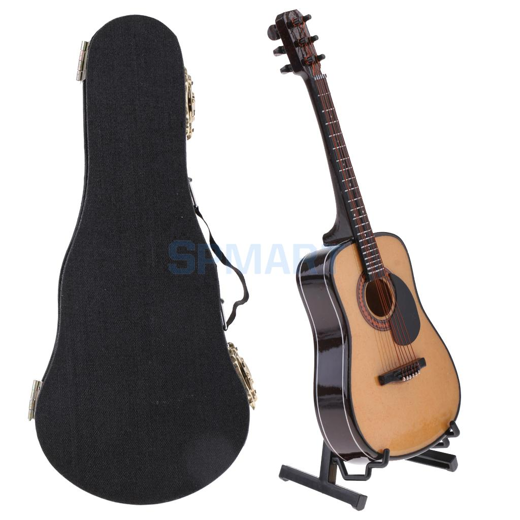 1/6 Scale Wooden Guitar Model with Stand PU Box Dollhouse Miniature Decor Musical Instrument for Action Figures Dolls wooden handcrafted miniature guitar model guitar 087 guitar display with case and stand not actual guitar for display only