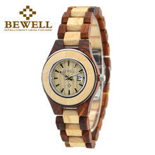 BEWELL Wood Couple Watch 30Bra Water Resistant Quartz Movement Wristwatches Analog Display with Calendar Relogio 100A все цены