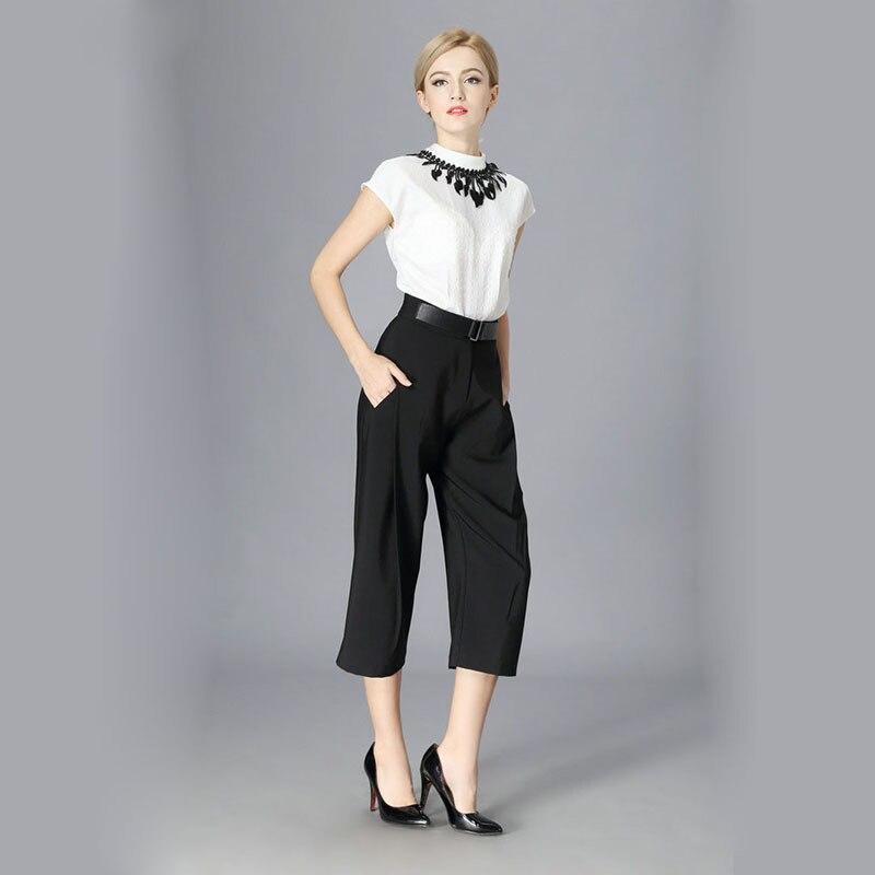 671bca2e68919a Casual White Blouse Shirt Wide Leg Black Pants Set Women 2 Piece Set Suit  Office Ladies Work Clothes Camisetas Femme A202-in Women's Sets from  Women's ...