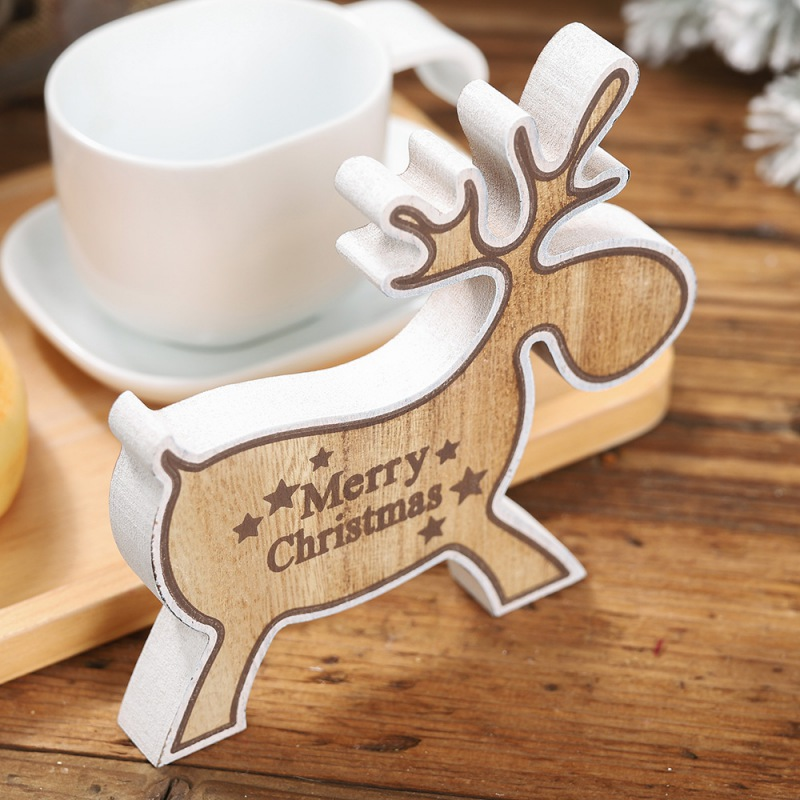 Merry Christmas Printed Wooden Elk Desktop Decoration Holiday Figurines Ornaments Kids Gift Home Party Xmas Festival Supplies in Pendant Drop Ornaments from Home Garden