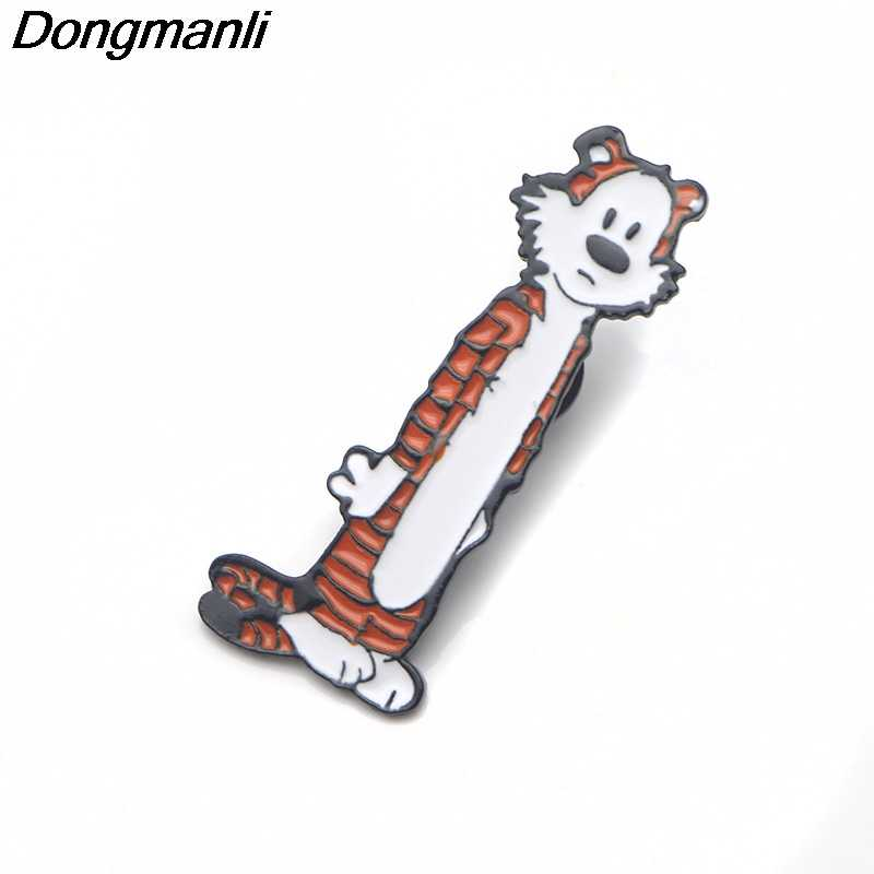 P3680 Dongmanli Hobbes Tigger Cute Logam Enamel dan Bros untuk Lapel Pin Tas Ransel Lencana Hadiah Keren