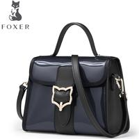 FOXER Brand 2017 New Women Leather Bag Famous Brands Fashion Simple Luxury Tote Women Leather Shoulder