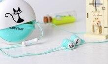Cartoon Earphone + Case bag + Retail Box Cute Anime Earphone cat 3.5mm headset with MIC best gift