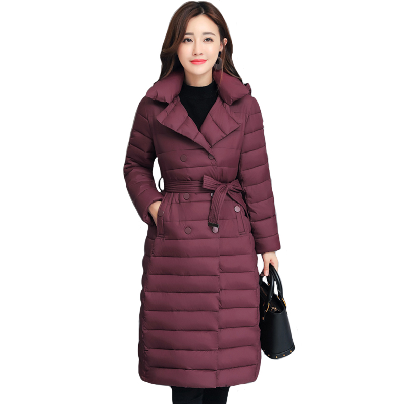 2019 New Design Women Winter Jacket Turn-down Collar With Belt Elegant Female Coat Outwear Padded Long Womens   Parka     Parkas