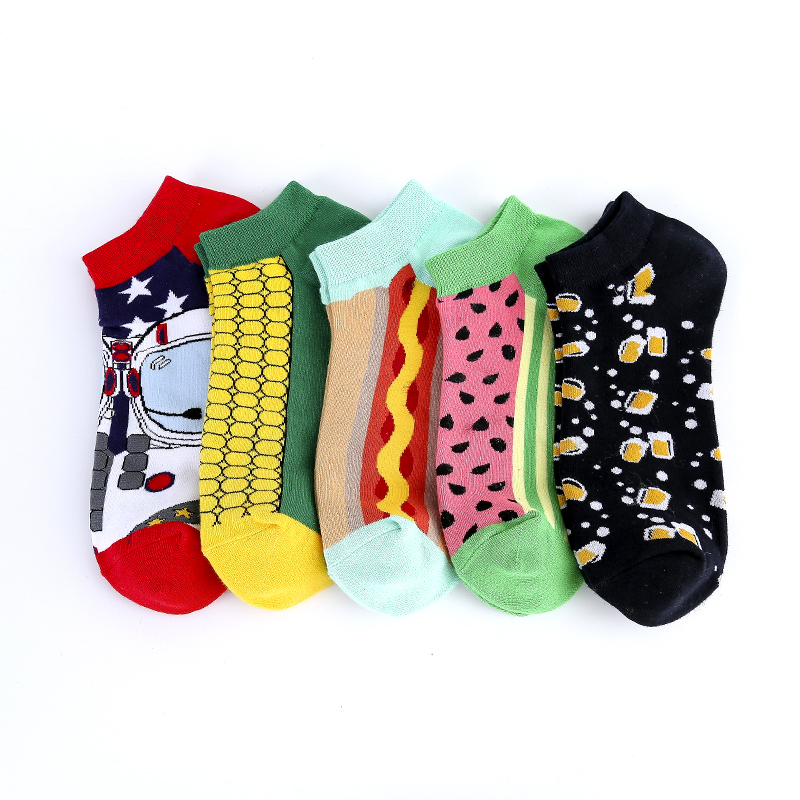 Funny Watermelon Beer Astronaut Corn Socks Invisible Ankle Summer Boat Low Short Socks Women Men Cotton Casual Happy Socks Male