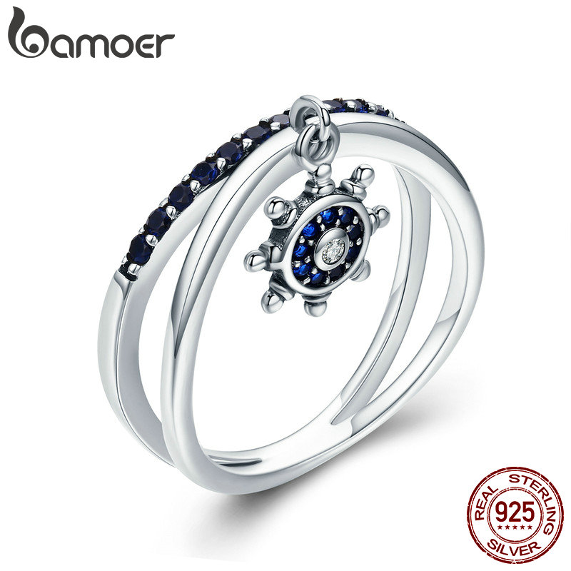 BAMOER Fashion New 100% 925 Sterling Silver Chic Anchor Double Layer Finger Ring for Women Engagement Silver Jewelry SCR280 chic double layered bar ring for women