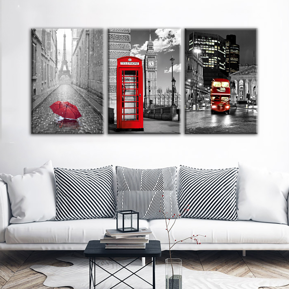 JIE DO ART Modern Wall Art Framework Canvas Pictures 3 Pieces Paris Black  White Eiffel Tower Red Car Umbrellas Paintings Posters In Painting U0026  Calligraphy ...