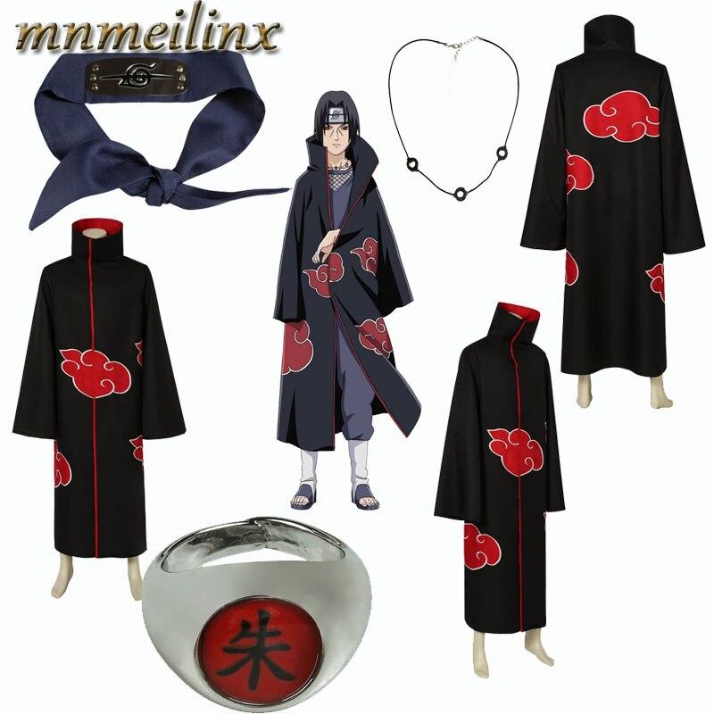 Unisex Long Ninja Robe Akatsuki Cloak Halloween Cosplay Costume Uniform with Headband and Rings