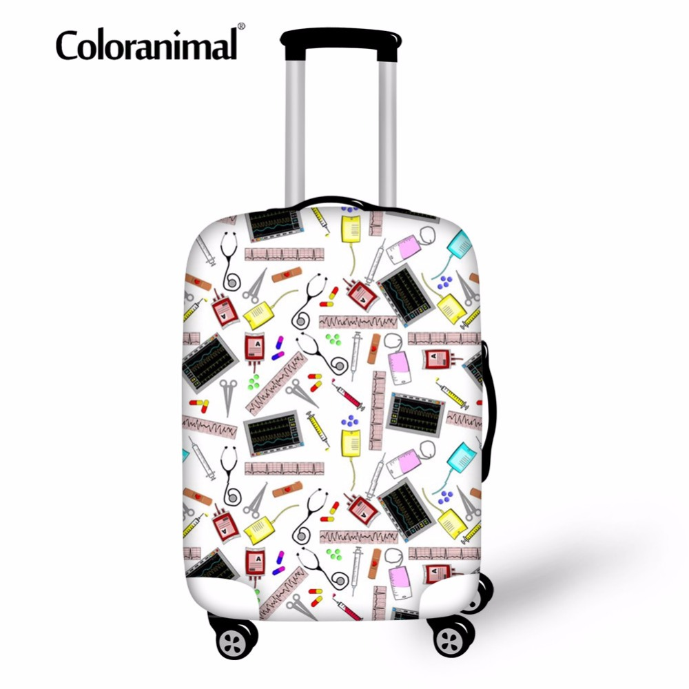Coloranimal Nurse Medica Travel Trolley Cover 3D Print Elastic Luggage Protective Cover Suitcase Dust Case Bag Cover 18-30 Inch