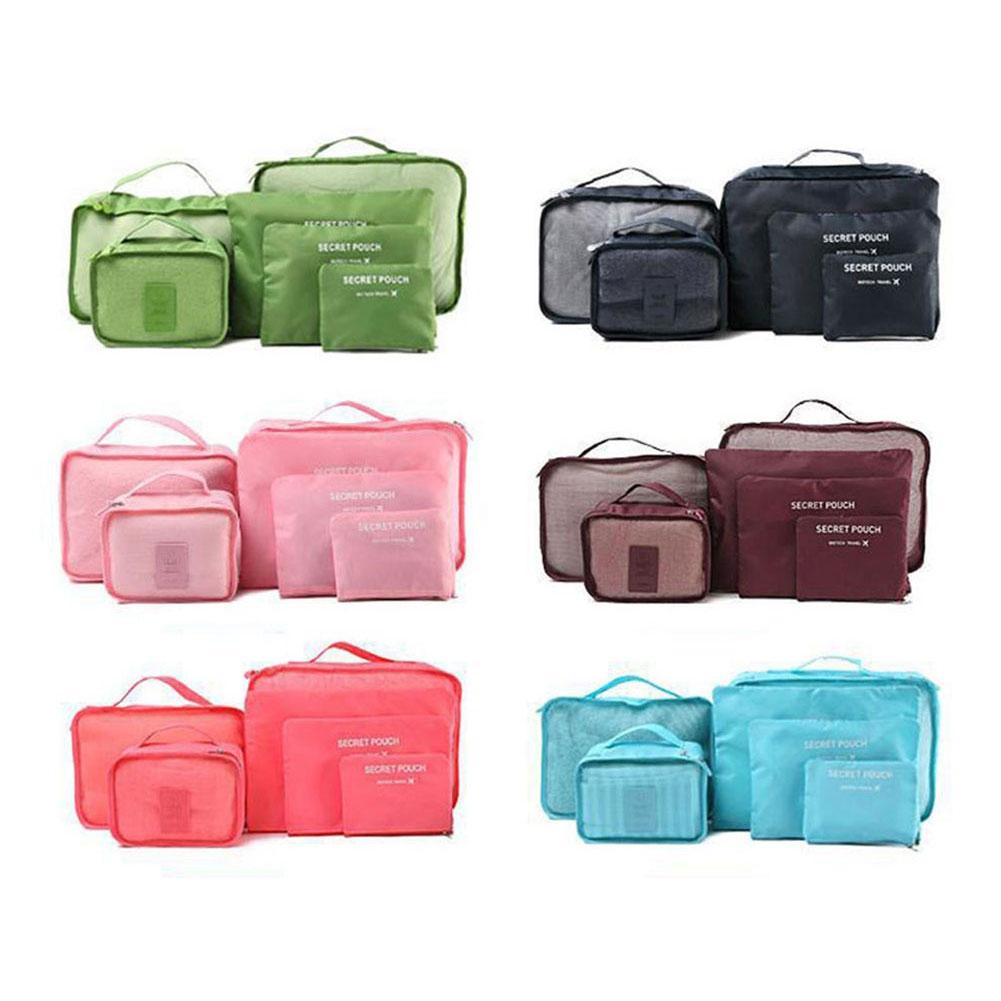 6 pz Viaggi Bagagli Borse Vestiti Scarpe Toeletta Organizzatore Bagagli Pouch Kit Commercio All'ingrosso Bulk Lots Accessori Forniture Stuff
