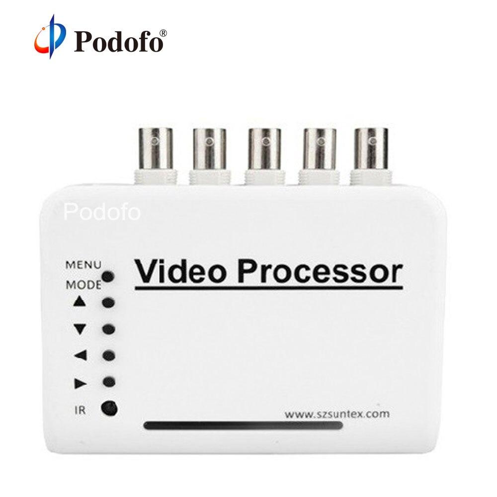 Podofo cctv quad splitter switcher kit sistema processador de câmera 4 canais cor processador vídeo com controle remoto adaptador bnc