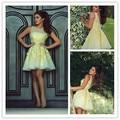Hot Selling Charming yellow Low back Sheer Straps short cocktail dresses Prom Dresses vestido de coctel corto 2015 CKD-05