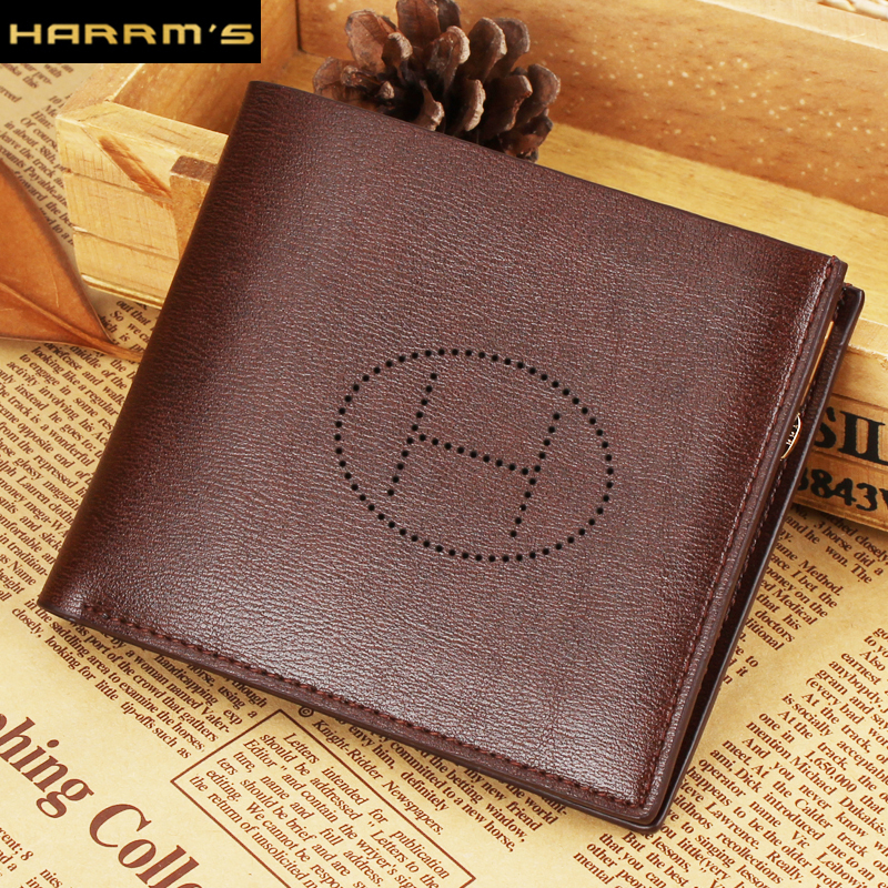 2016 NEW Designer Harrms Brand Short men wallets brown color Split leather with zipper card holder