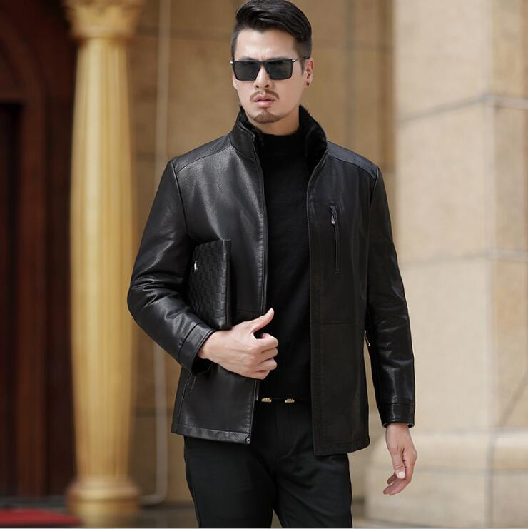 HOT Winter new plus velvet thick leather jacket men's Mink stand collar leather jacket Men natural Comfortable leather down coat