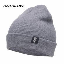Letter True Casual Beanies for Men Women Fashion Knitted Winter Hat Solid Color Hip-hop Skullies Hat Bonnet Unisex Cap Gorro cheap Skullies Beanies h520 HZHTRLOVE Cotton Adult