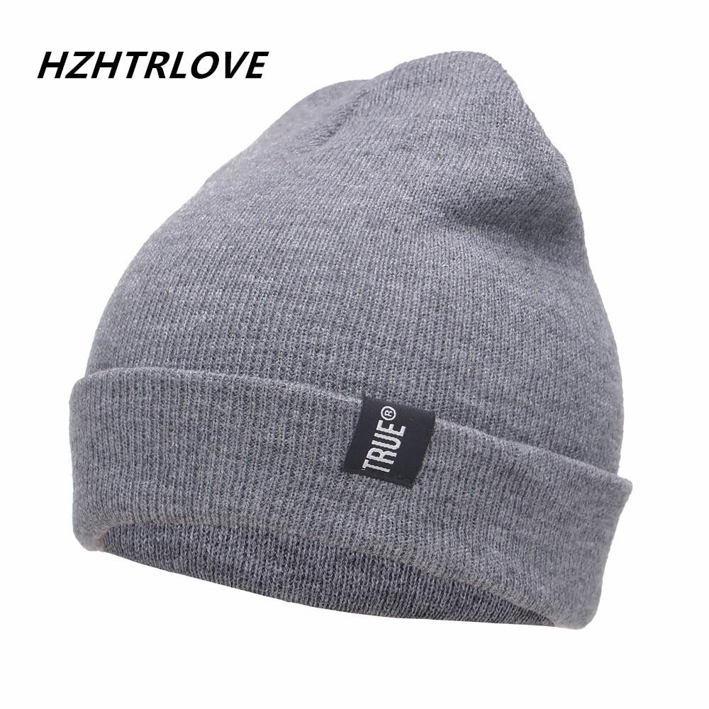 Lettre True Casual Bonnets pour Hommes Femmes Mode Tricoté Chapeau D'hiver de Couleur Unie Hip-Hop Skullies Chapeau Bonnet Unisexe Cap Gorro