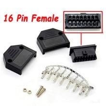 Hohe qualität Auto Diagnose Werkzeug J1962F OBD2 16 Pin Buchse OBDII 16pin Stecker Adapter OBD stecker + fall + schraube