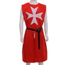 Red MEDIEVAL WARRIOR Cosplay Costume TEMPLAR KNIGHT Cloak Robe