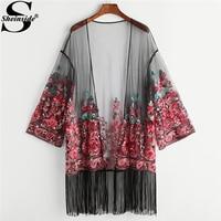 Sheinside 2018 Spring Casual Fringe Trim Paisley Embroidered Mesh Kimono Women Long Sleeve Longline Vacation Blouse