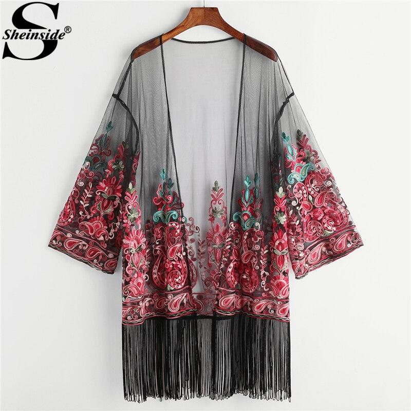Sheinside вышитые сетки кимоно Для женщин отделкой бахромой Пейсли отпуск блузка 2018 Лето с длинным рукавом удлиненный пляжное кимоно