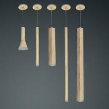 Led בצבע עץ תליון מנורת dimmable אורות מטבח אי אוכל חדר חנות בר דלפק קישוט צילינדר צינור תליית מנורות