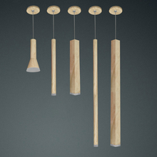 led Wood grain Pendant Lamp dimmable Lights Kitchen Island Dining Room Shop Bar Counter Decoration Cylinder Pipe Hanging Lamps