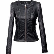 2016 Women's xxxl Motorcycle PU Leather Jacket Plus Size Female Zipper Outerwear jacket coat