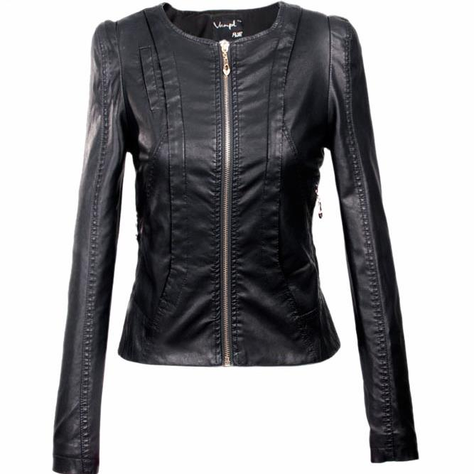 2018 Women's xxxl Motorcycle PU   Leather   Jacket Plus Size Female Zipper Outerwear jacket coat