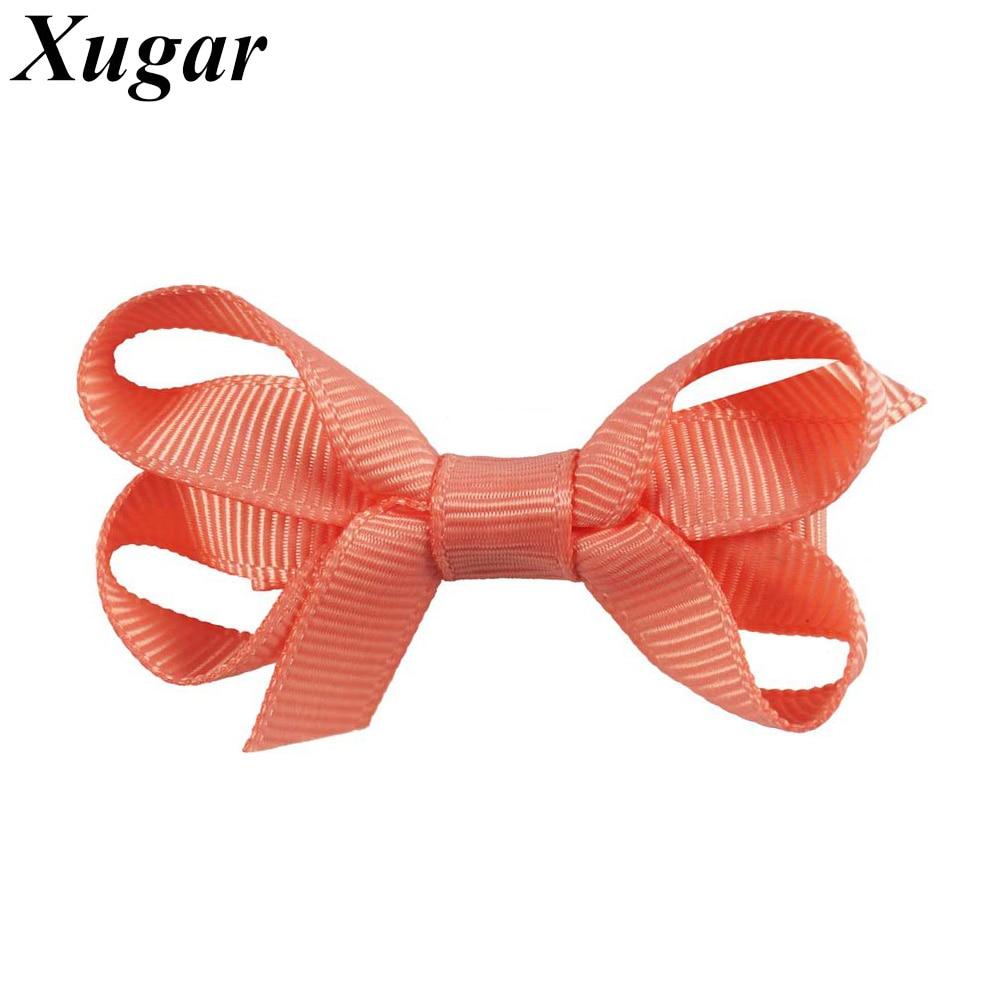 4 Pcs/Lot 2'' Kids' Mini Handmade Grosgrain Ribbon Hair Bow with Alligator Clips Cute Hairpins Girls Hair Accessories