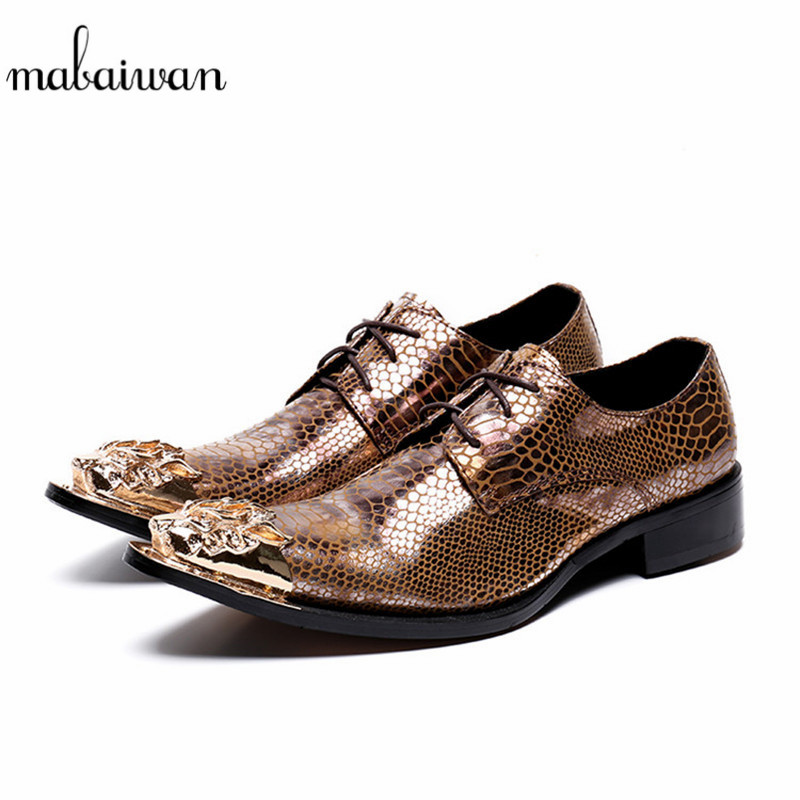 Mabaiwan Italy Casual Men Shoes Real Leather Loafers Fashion Design Slipper Wedding Dress Shoes Men Gold Metal Toe Party Flats mabaiwan italy casual men shoes snakeskin leather loafers fashion slipper wedding dress shoes men slip on handmade party flats