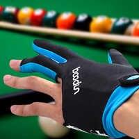 Billar guantes de tres dedos LICRA guante antideslizante taco de billar inglés guantes bordados accesorio para Unisex 5 colores