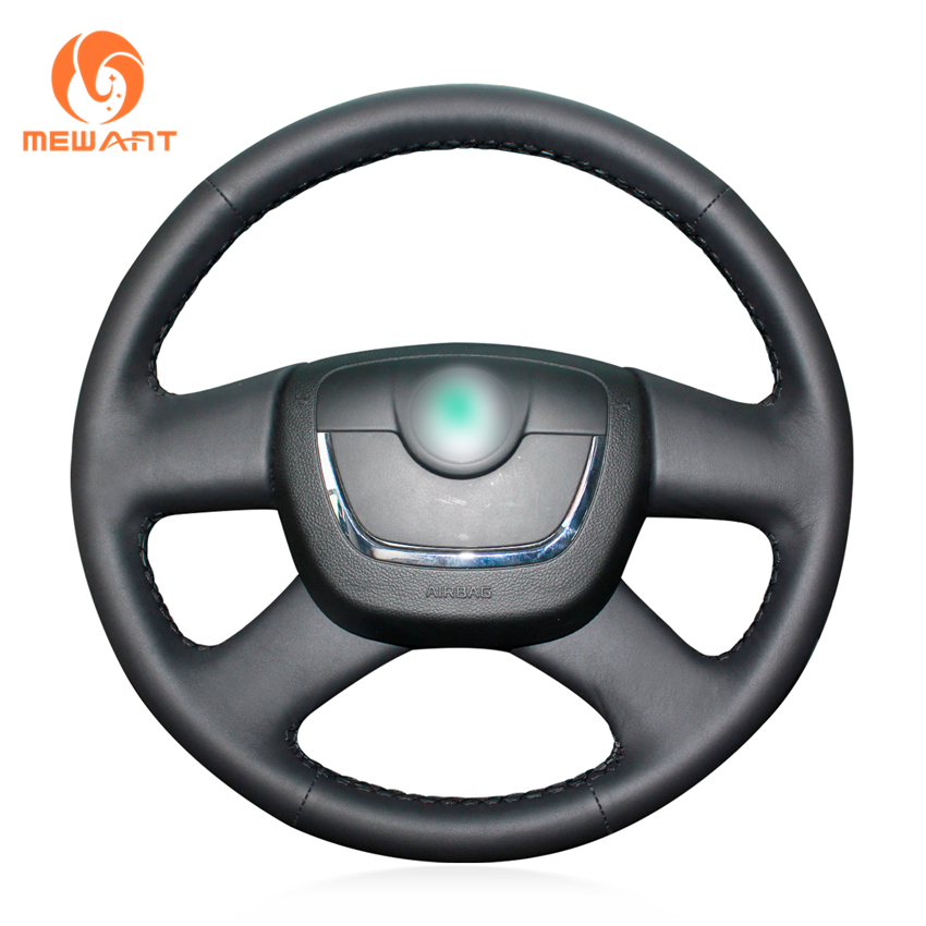 MEWANT Black Genuine Leather Car Steering Wheel Cover for Skoda Octavia Superb 2012 Fabia Skoda Octavia a 5 a5 2012 2013 bannis genuine leather steering wheel cover for skoda octavia superb 2012 fabia skoda octavia a 5 a5 2012 2013 yeti