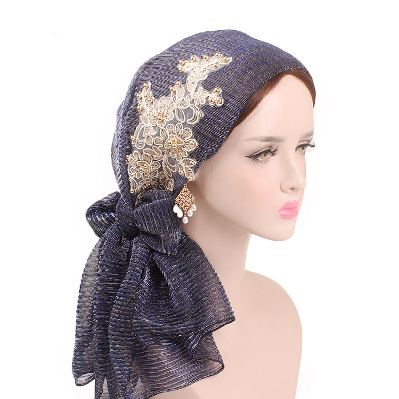 2019 Bright Silk Head Wrap Scarf Ladies   Headwear   Fold Turban Hat Pre-Tied Scarves Women Wrinkle Hair Accessories Head Wrap Scarf